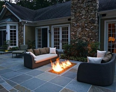 fire pit gas rectangle in ground