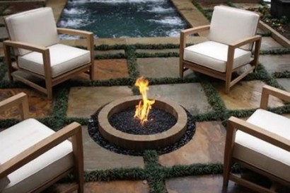 fire pit large slate with grass