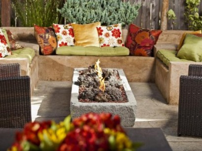 fire pit lava stone in rectangle